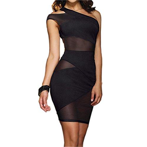 jjpunk Mujer Sexy lencería Club Wear Party Mini vestido Cóctel vestido Punta Media hombro Ropa