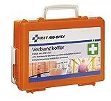 First Aid Only Verbandkoffer mit Griff, DIN 13157, inklusive Trennscheiben, Wandhalterung, Schrauben und Dübeln, orange, P-10020