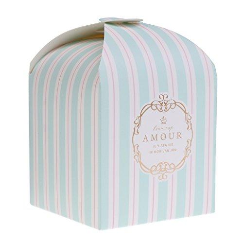 sche Streifen Süßigkeit Lolly Box Hochzeit Party Bevorzugung Geschenk Box Cookie Tasche - Blau, 8 x 8 x 11,5 cm (Cookie-bevorzugung Taschen)
