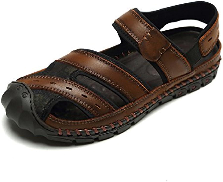 Sandalen MAZHONG Sommer Herrenschuhe Persönlichkeit Loch Schuhe Atmungsaktive Watschuhe Herren (Farbe : Rot  Größe
