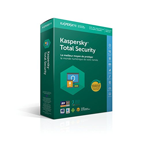 Kaspersky Total Security|2018|5 appareils|2 Années|Ordinateurs/Tablettes Windows/Android/Mac OS X/Smartphones|Téléchargement