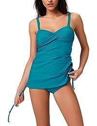 Gwinner Damen Tankini - Badeoutfit Badeanzug zweiteilig - Verstellbare Träger - Material Made In EU - Für Pool Und Meer - #Gwn Raisa