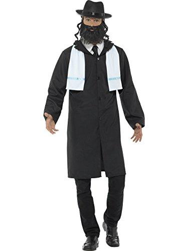 Smiffys, Herren Rabbiner Kostüm, Jacke, Schal, Hut und Bart, Größe: L, (Kostüm Ohne Hut Cowboy)