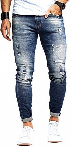 LEIF NELSON Herren Hose Jeans Stretch Jeanshose Freizeithose Denim Slim Fit LN9960BL; W32L32, Blau