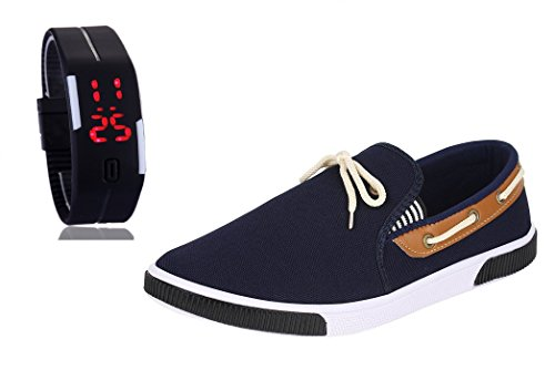 Chevit Men's COMBO 417 Casual Loafers Shoes With LED Watch Bracelet Adjustable...