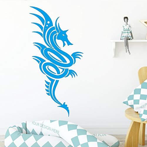 AiyoAiyo Flying Dragon Wandaufkleber Entfernbare Wandaufkleber DIY Tapete für Wohnzimmer Schlafzimmer Stikers für Wanddekoration blau 58 cm X 117 cm -