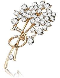 LUREME Broche Simple con Broche de Oro y par para Mujeres (br000105)