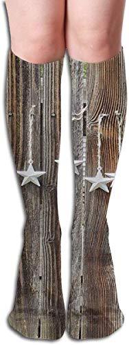 Just Relax Shop Calcetines de compresión de 19.7 pulgadas, diseño rústico de estrellas en madera...