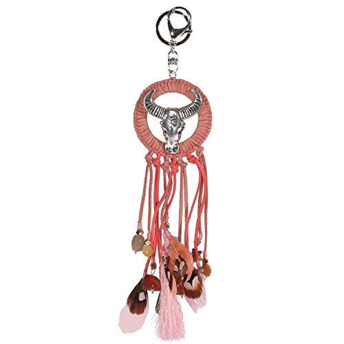 Portachiavi in metallo argentato, Rocaille, in pelle scamosciata, tessuto, piuma, colore: rosa indiano-Dreamcatcher - Rosa Dreamcatcher