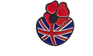 Large Poppy Pin Badge Brooch for Remembrance Day with UK Flag