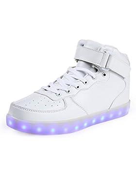 SAGUARO® 7 Farbe USB Aufladen LED Leuchtend Sport Schuhe Sportschuhe Sneaker Turnschuhe für Unisex-Kinder Jungen...