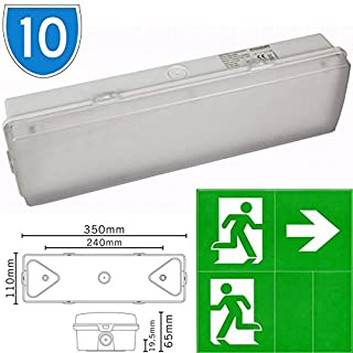 10x Slimline LED Emergency Running Man Legend Arrow Sticker IP65 Maintained Or Non Maintained Waterproof Fire Exit Sign Bulkhead Light Fitting With Green Legend Kit Low Energy EM3 NM3 M3 E3M 3 Hour Sign Light With Battery Backup
