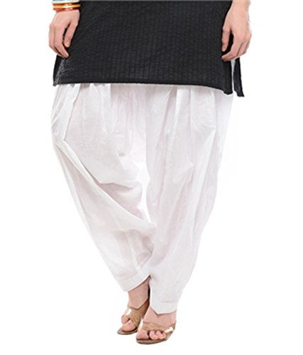 Ngt Women's Cotton Patiala Salwar (PATWH_White_Free Size)