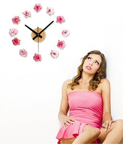 nectaroy-orologio-da-parete-retro-legna-e-tessuto-di-cotone-fiore-stile-acrilico-venatura-del-legno-