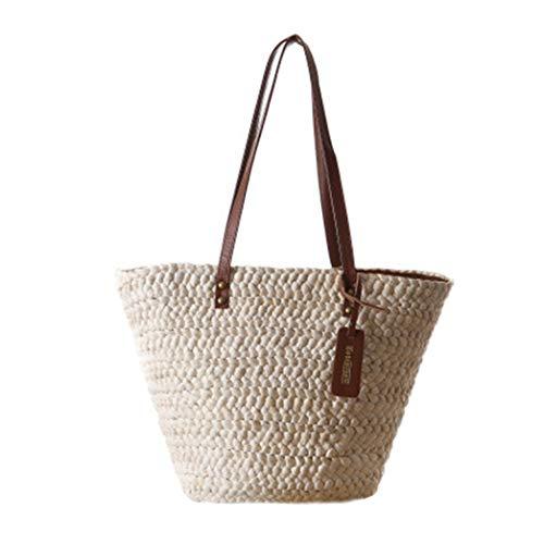 TOBEEY Frauen-Stroh-Schulter-Beutel-große beiläufige böhmische Handtaschen-Webart-Einkaufen-handgemachte Sommer-Strand-Beutel