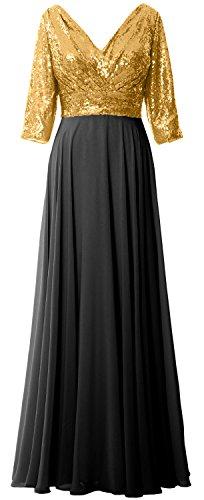 MACloth - Robe - Trapèze - Manches 3/4 - Femme Doré/noir