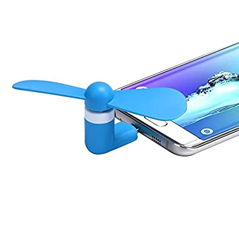 Micro USB Ventilator, FNKDOR Mini 5Pin Leise Lüfter, Für Android Phone/ Akku mit Micro usb (Typ-C brauchen Adapter) (Blau)
