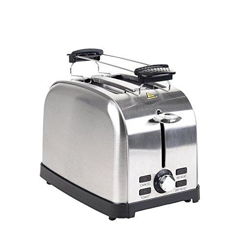 FRX Retro Edelstahl Toaster 2 Scheiben 1000 Watt Familien-Toaster Brotröster Toast-Maschine (Edelstahl)