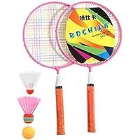 TOYANDONA Juego de Bádminton para Niños, Raqueta de Bádminton para Principiantes Rosa con 3 Bádminton para Practicar Deportes Al Aire Libre
