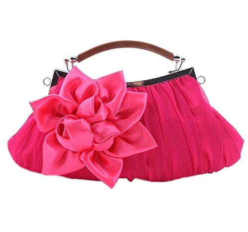 Nuziale di Sera del Partito Borsa Donne Fiore Banchetti Satin Clutch Portafoglio rosa