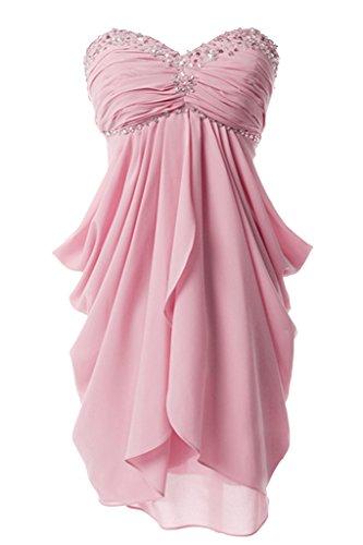 Prom Style Leger Korsage Chiffon Sommerkleider Cocktailkleid Partykleider Kurz Tanzkleid Tulpenkleid Rosa
