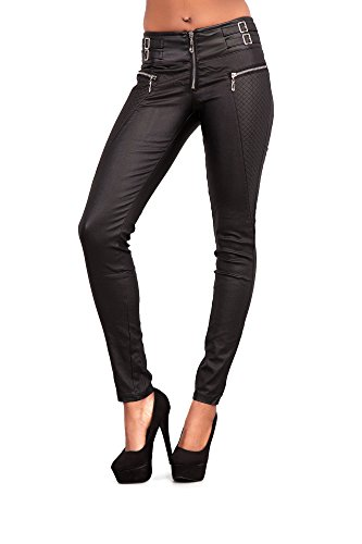 b7ac39541fc4 Crazy Lover New Ladies Women Black Faux Pu Leather Leggings Jeggings  Trousers Gold Zips Size Uk 6-14 - £19.99