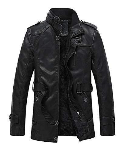 dermantel Biker Leder Trenchcoat Reißverschluss Jacke Oberbekleidung mit Gürtel ()