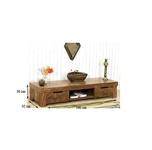 Jangir JDTV1155 Solid Wood TV Stand (Glossy Finish, Brown)