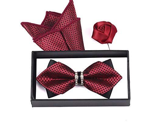 WUNDEPYTIE Krawatte Polyester Hochzeitskleid Herrenanzug Business Fliege, Rot R