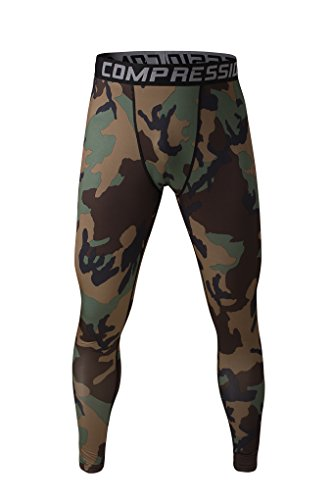 Fringoo Workout-Kompressions-Strumpfhosen für Herren zum Laufen, Fitness-Leggings, lange untere Lage, Thermo-Hose für Sport, Training Gr. XL, tarnfarbe