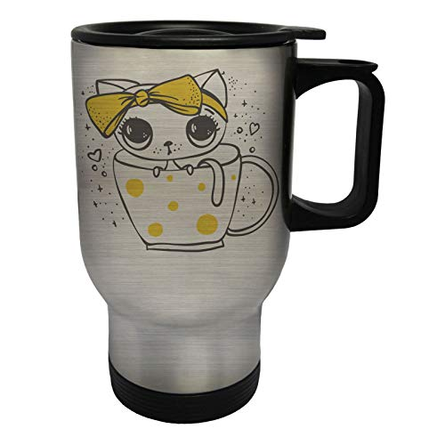 Cute Cat With Yellow Bow in a Cup Edelstahl Thermischer Reisebecher 14oz 400ml Becher Tasse ee376ts