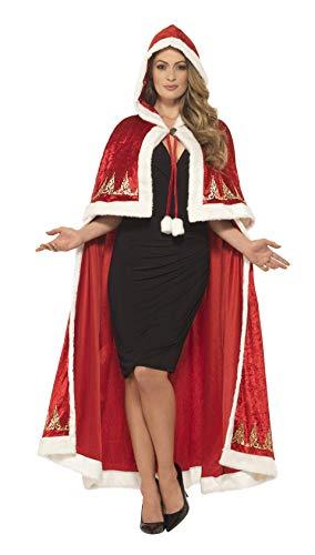 Baby Miss Santa Kostüm - Smiffys 45965 - Damen Miss Santa Claus Umhang, One Size, rot