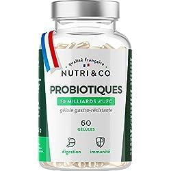 Probiotiques Flore Intestinale   30 à 60 Milliards d'UFC par Dose (2 à 4/j)   Souches Bactériennes Humaines Garanties Vivantes   60 Gélules Végétales Gastro-Résistantes Made in France   Nutri&Co ®