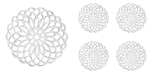 Sadingo Kleine Filigrane Messing Bohemian Mandala Schmuckverbinder, Anhänger - 5 Stück - 15 mm - Farbe wählbar - DIY, Auswahl:Silber