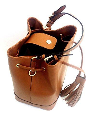 DEEP ROSE Borsa secchiello in Vera Pelle Donna Made in Italy spalla mano shopper bucket bag con tracolla regolabile ANDREA