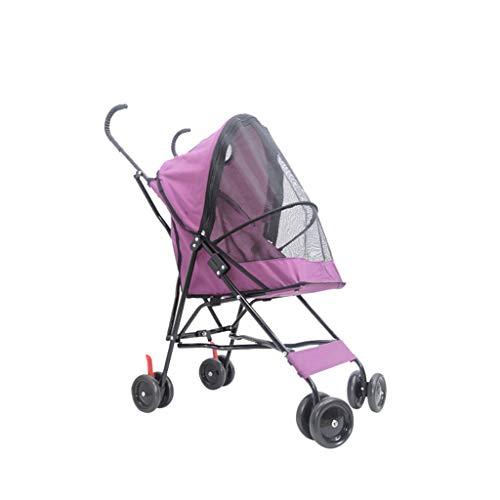 Jlxl Leichte Kinderwagen Katze Hundekorb Zipper Entry Fold Cup Holder Carrier Cart Räder Travel Black (Color : Purple) - Drei-fold-bildschirm
