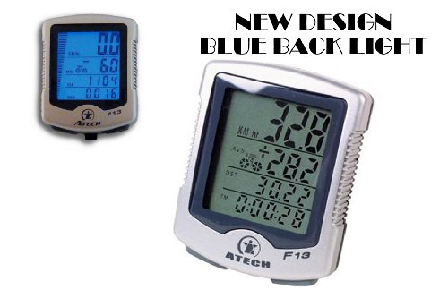 Atech 13 Function Wireless Bicycle Computer Speedometer Odometer LCD Display
