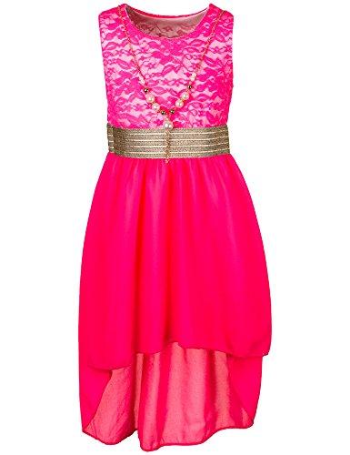 Unbekannt Kinder Sommer Fest Kleid für Mädchen Sommerkleid Festkleid mit Kette in vielen Farben M288npi Neon Pink Gr. 14/152 / 158 (Kleid Kommunion Für Die)