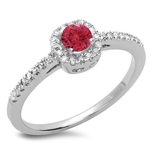Damen Ring 14 Karat Weißgold Rund Echte Rubin & Diamant Damen Halo Style Verlobungsring