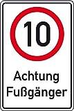 LEMAX® Kombischild 10 kmh - Achtung Fußgänger, Aluminium RA0, reflekt., 600x900mm