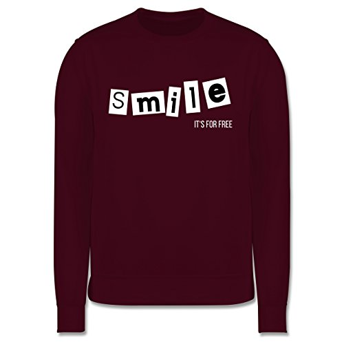 Statement Shirts - Smile it's for free - Herren Premium Pullover Burgundrot