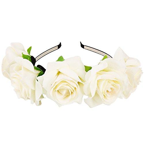 Fascia per capelli corona di fiori rosa per accessori per capelli da sposa  Festa Festival Testa 3b185e583f78