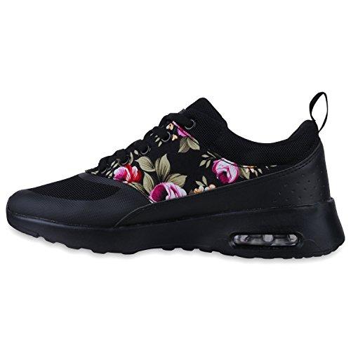Damen Herren Unisex Sportschuhe Laufschuhe Runners Sneakers Schnürer Schwarz Blumen