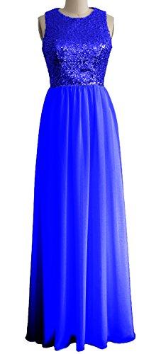 MACloth Women O Neck Sequin Chiffon Long Bridesmaid Dress Formal Evening Gown Königsblau