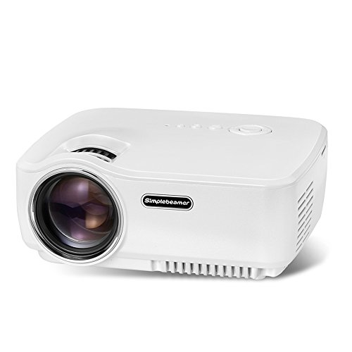 Simplebeam Portable LED Projector GP70 - 120 Full HD 1080p 720p Widescreen 20000 Hours Life 2*HDMI Ports For Film Buffs Home Cinema, Christmas Gift, Outdoor Camping Night Using, White