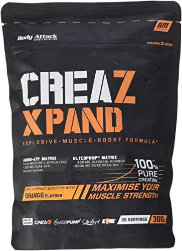Body Attack Creatine-Booster 100% Pure Creatine Pre Workout Booster mit Kreatin - L-Citrullin 300g
