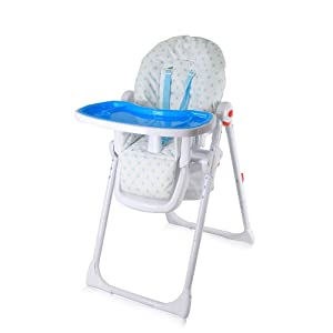 iSafe MAMA Highchair - Blue Dots Recline Compact Padded Baby High Low Chair Complete With Double Tray & Storage Basket
