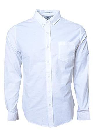 Crosshatch Mens Almond Long Sleeve Shirt - White - Small