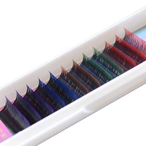 Gefälschte Kostüm Wimpern - DMZXNWAI Bunte Gefälschte Wimpern Regenbogen Farbige Wimpern Verlängerung, Faux Nerz Farbe Wimpern, Bunte Wimpern Verlängerung (gemischt 5 Farben, B/ccurl, 8-12mm)