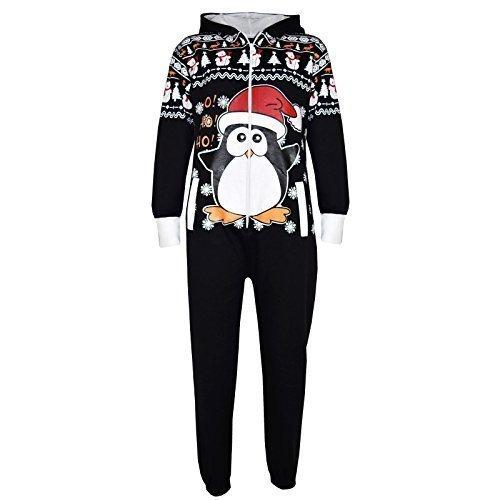 A2Z 4 Kids Kinder Mädchen Jungen Neuheit Weihnachten - Xmas Onesie Penguin Black 11-12 - Christmas Onesies